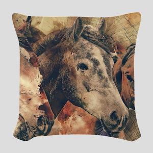 Horses Artistic Watercolor Pai Woven Throw Pillow