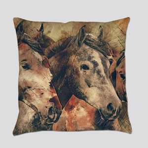 Horses Artistic Watercolor Paintin Everyday Pillow