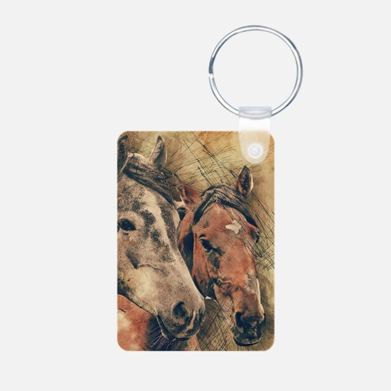 Horses Artistic Watercolor Painting Deco Keychains