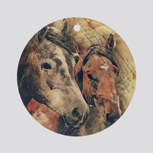 Horses Artistic Watercolor Painting Round Ornament