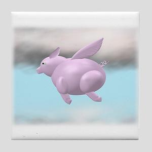 Flying Pig Graphic Tile Coaster