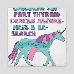 Unicorns Support Thyroid Cancer Awaren Queen Duvet