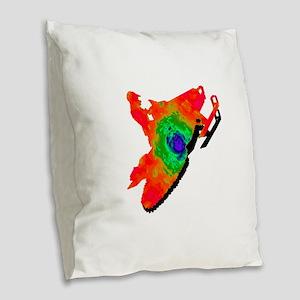 SNOWMOBILER Burlap Throw Pillow