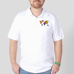 Design 33 Colorful World map Golf Shirt