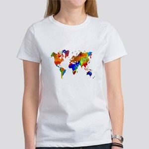 World map womens t shirts cafepress design 33 colorful world map t shirt gumiabroncs Images