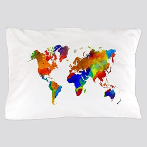 Design 33 Colorful World map Pillow Case