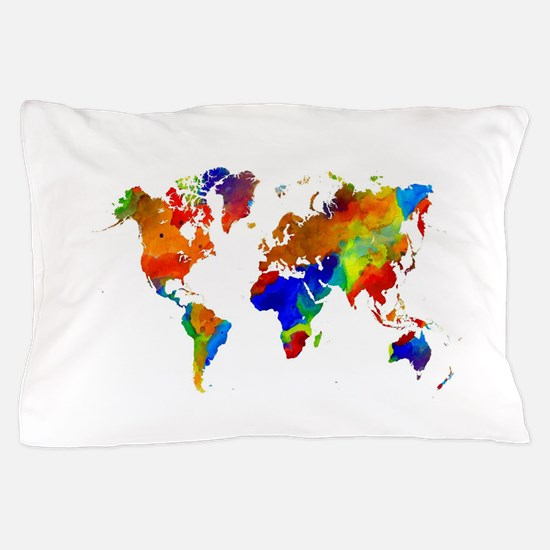 Watercolor world map bedding cafepress design 33 colorful world map pillow case gumiabroncs Image collections