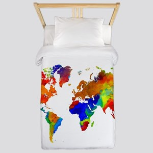 Design 33 Colorful World map Twin Duvet