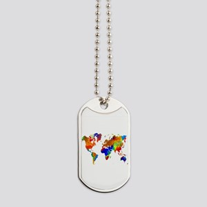 Design 33 Colorful World map Dog Tags