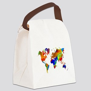 Design 33 Colorful World map Canvas Lunch Bag