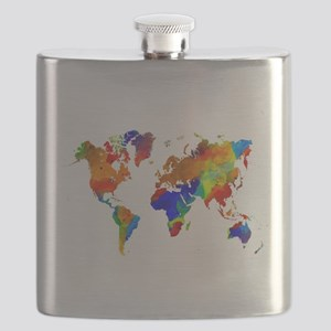 Design 33 Colorful World map Flask