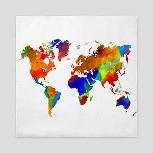 Design 33 Colorful World map Queen Duvet