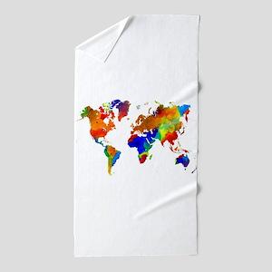 Design 33 Colorful World map Beach Towel