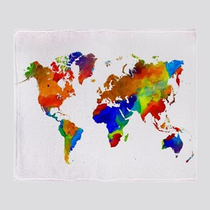 Design 33 Colorful World map Throw Blanket