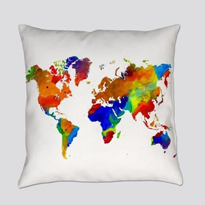 Design 33 Colorful World map Everyday Pillow