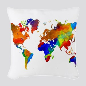 Design 33 Colorful World map Woven Throw Pillow