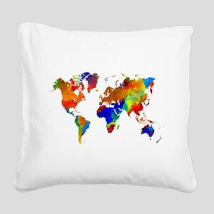 Design 33 Colorful World map Square Canvas Pillow