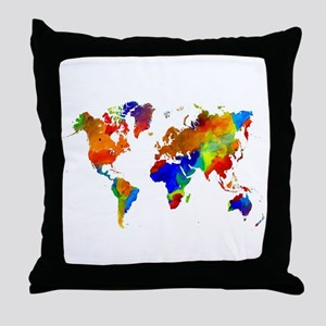 Design 33 Colorful World map Throw Pillow