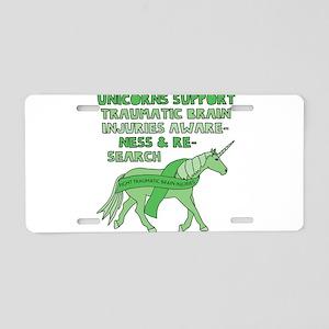 Unicorns Support Traumatic Aluminum License Plate
