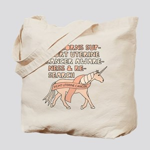 Unicorns Support Uterine Cancer Awareness Tote Bag