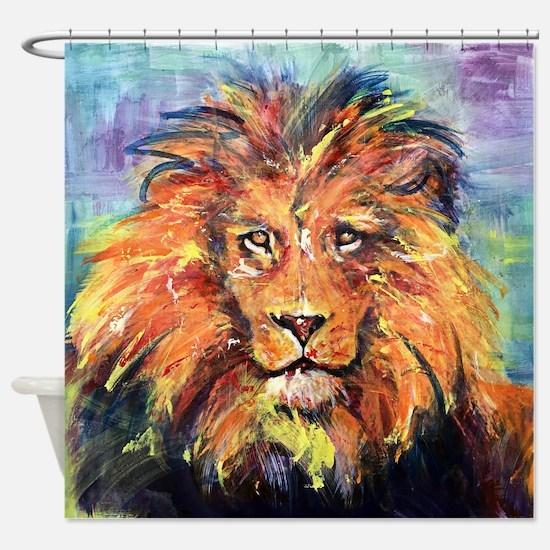 Cute Abstract lion art Shower Curtain