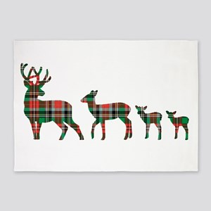 Christmas plaid deer family 5'x7'Area Rug