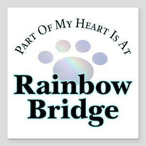 """Rainbow Bridge Paw Square Car Magnet 3"""" X 3&q"""