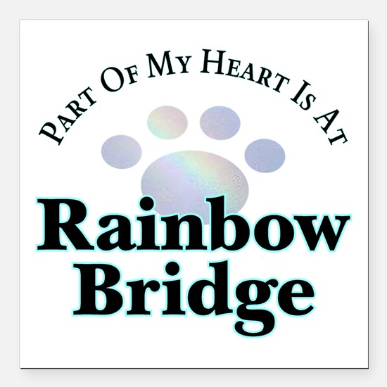"Rainbow Bridge Paw Square Car Magnet 3"" X 3&q"