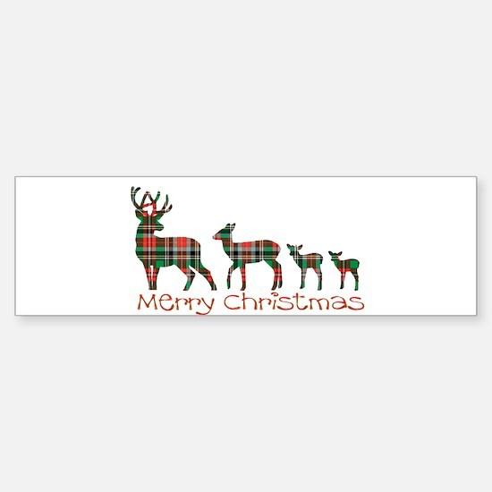 Merry Christmas plaid deer family Bumper Car Car Sticker