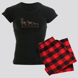 Merry Christmas plaid deer f Women's Dark Pajamas