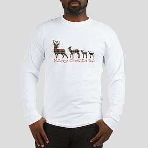Merry Christmas plaid deer fam Long Sleeve T-Shirt
