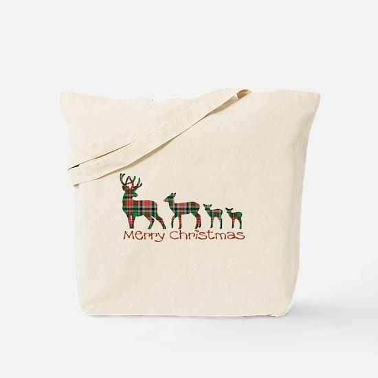 Merry Christmas plaid deer family Tote Bag