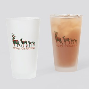 Merry Christmas plaid deer family Drinking Glass