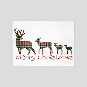 Merry Christmas plaid deer family 5'x7'Area Rug