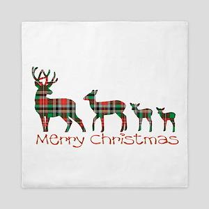 Merry Christmas plaid deer family Queen Duvet