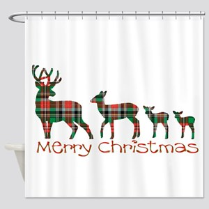 Merry Christmas plaid deer family Shower Curtain
