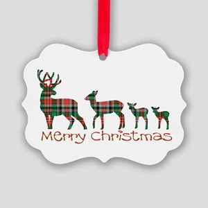 Merry Christmas plaid deer family Picture Ornament