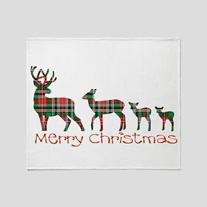 Merry Christmas plaid deer family Throw Blanket