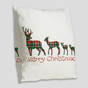 Merry Christmas plaid deer fam Burlap Throw Pillow