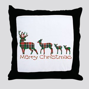 Merry Christmas plaid deer family Throw Pillow