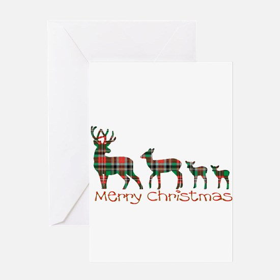 Merry Christmas plaid deer family Greeting Cards