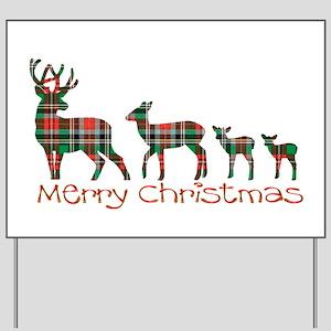 Merry Christmas plaid deer family Yard Sign