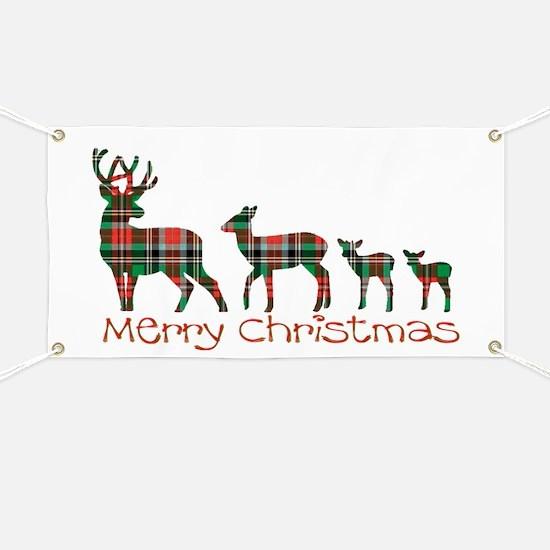 Merry Christmas plaid deer family Banner
