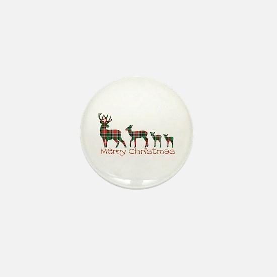 Merry Christmas plaid deer family Mini Button