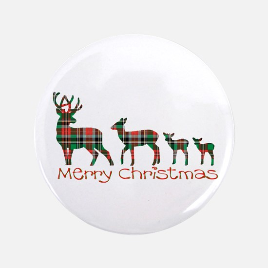 Merry Christmas plaid deer family Button