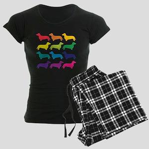 Rainbow Dachshunds Women's Dark Pajamas