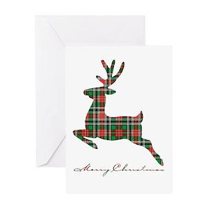 plaid christmas greeting cards cafepress - Deer Christmas Cards
