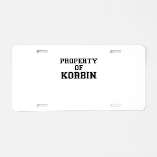 Property of KORBIN Aluminum License Plate