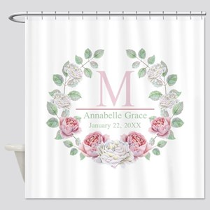 Baby Girl Floral Monogram Shower Curtain