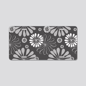 Floral Pattern - Charcoal G Aluminum License Plate